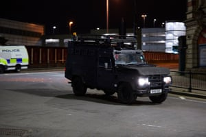 An armoured vehicle responds