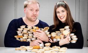 Alice Fevronia and Stuart Heritage taste testing mince pies. London, Photograph by David Levene 20/11/19