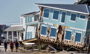 View of the damaged caused by Hurricane Michael in Mexico Beach, Florida, three days after the storm hit the area.