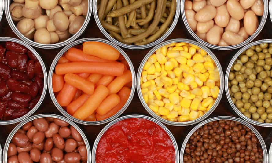 Vegetables in cans<br>Different kinds of tinned vegetables such as corn, peas and tomatoes in cans