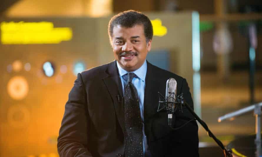 "Premier science communicator Neil deGrasse Tyson on the set of his new talk show series ""StarTalk."""