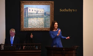 Sotheby's worldwide head of impressionist and modern art, Helena Newman, brings the hammer down on Claude Monet's the Doge's Palace on the Grand Canal in Venice, which sold for £27.5m.