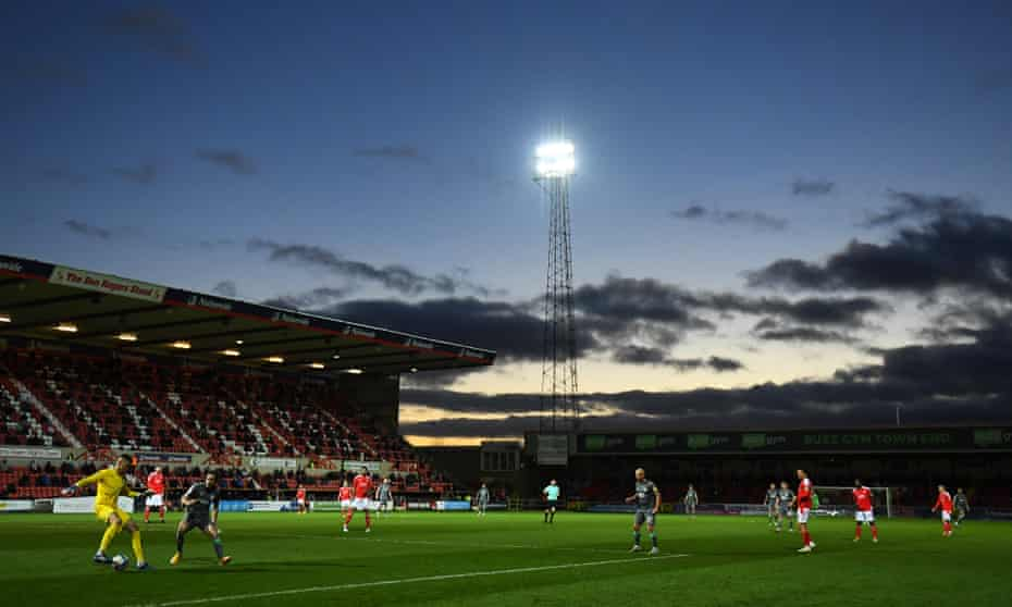 Swindon Town take on Fleetwood Town at the County Ground during the covid-hit 2020/21 season.