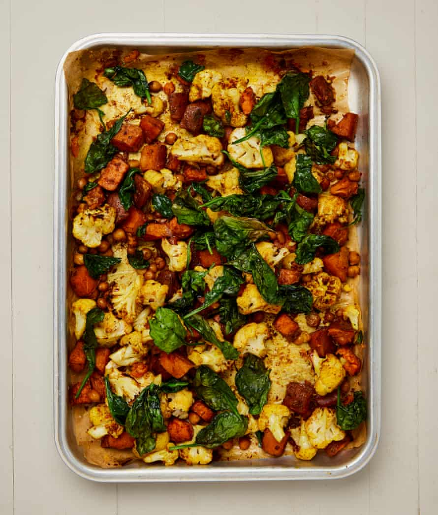 Yotam Ottolenghi's roast berbere vegetables and chickpeas with spinach.