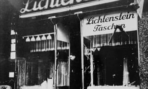 Hans Lichtenstein's family leather goods shop in Berlin after it had been smashed up during Kristallnacht in 1938