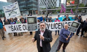 The actor Ricky Tomlinson joins protesters outside BBC MediaCity in Salford, Greater Manchester following the broadcaster's decision to axe free TV licences for two-thirds of pensioners