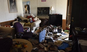 Philip and Jenn Bennett's home after flood waters receded in their home in Fenton, Missouri on Saturday.