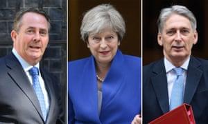 Liam Fox, Theresa May and Philip Hammond.