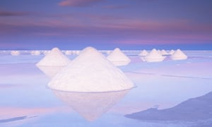 Salt deposits at Salar de Uyuni, Bolivia
