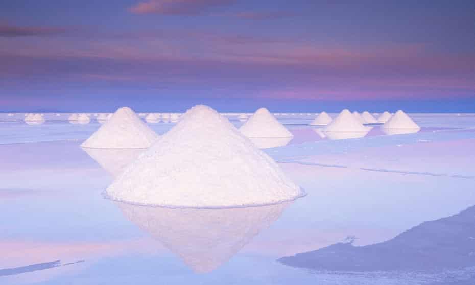 Salt deposits at Salar de Uyuni, Bolivia