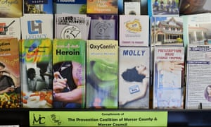 Literature on display at an overdose prevention organisation in Hamilton, New Jersey.