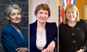 (L-R) Former Unesco director Irina Bokova, Helen Clark and Susana Malcorra who are among 30 female world leaders warning that women's rights are being eroded.