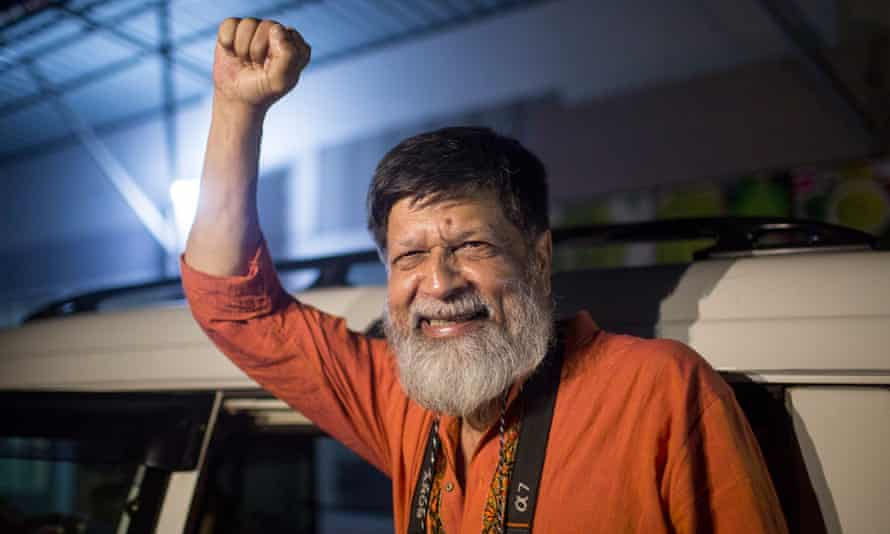 Shahidul Alam after his release from Dhaka's central prison on 20 November.