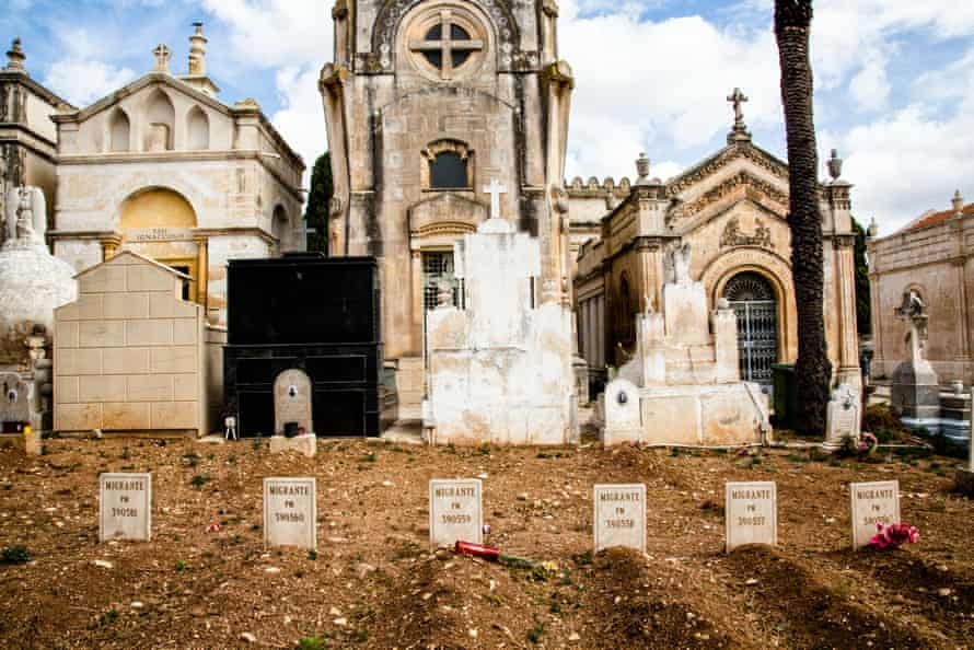 Gravestones in the cemetery of Rosolini in Sicily mark the burial places of six victims of an 18 April 2015 shipwreck, already examined in the Melilli Nato base.