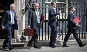 Cabinet ministers leaving No 10 after today's cabinet. From left, justice secretary David Lidington, environment secretary Michael Gove, attorney general Jeremy Wright and Northern Ireland secretary James Brokenshire.