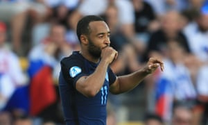 Nathan Redmond celebrates the second for England.