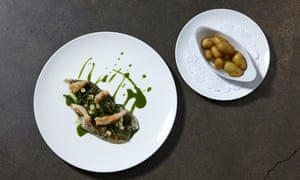 'The nearest thing to modishness': torched plaice with samphire.