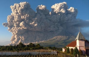 Karo, Indonesia Mount Sinabung spews volcanic material during an eruption in North Sumatra. The 2,600-metre volcano is among more than 120 active volcanoes in Indonesia