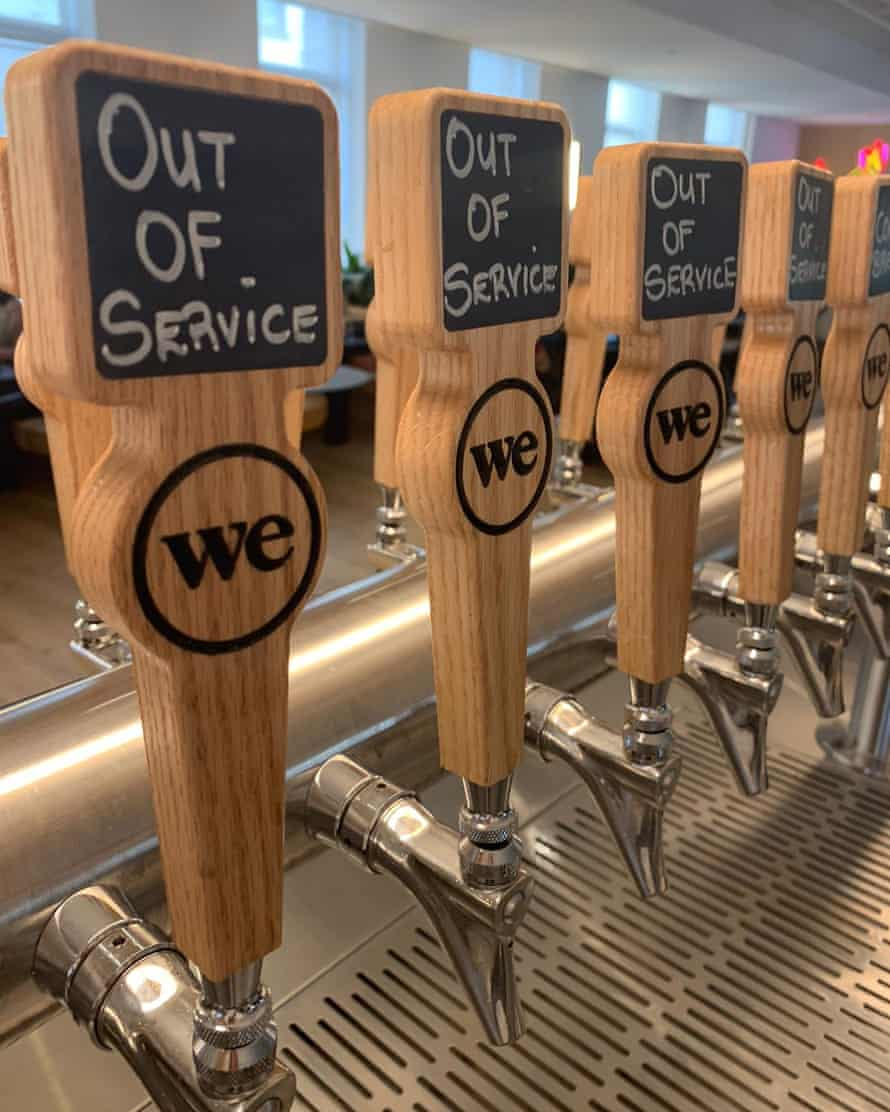 Beer taps at WeWork HQ on Thursday.
