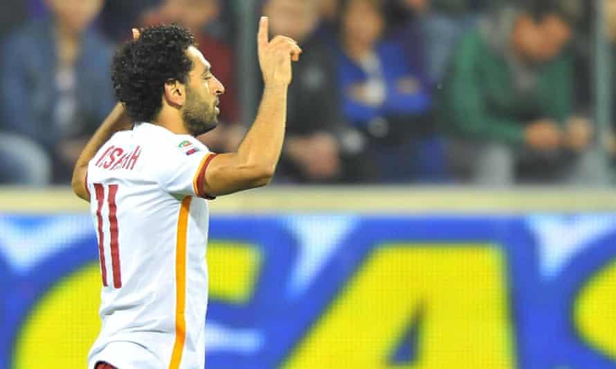 Roma's Mohamed Salah after scoring against his former side.