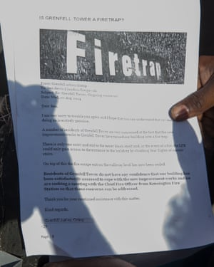 A letter from the Grenfell Tower Action Group in August 2014 expressing concerns that the building is a firetrap.