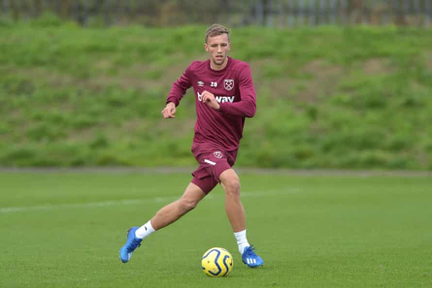 West Ham United's Tomas Soucek trains at Rush Green in Romford.