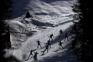 Seefeld, AustriaAthletes compete in the men's cross country 50km race during the FIS Nordic World Ski Championships.