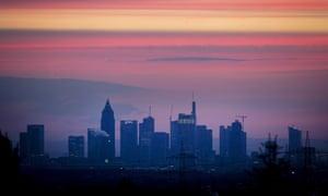 Red sky in the morning.... The skyline of Frankfurt, Germany.