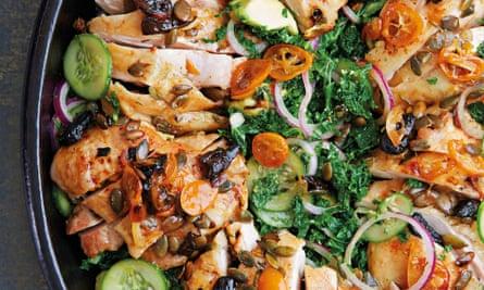 Roast chicken, kumquats, black garlic, kale and avocado