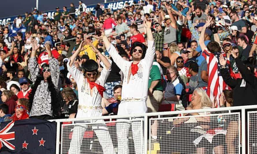 Rugby fans wearing Elvis Presley costumes enjoy the sevens at Sam Boyd Stadium.