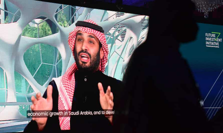 In this file photo taken on January 28, 2021 Saudi Crown Prince Mohammed bin Salman speaks during the Future Investment Initiative (FII) conference in a virtual session in the capital Riyadh