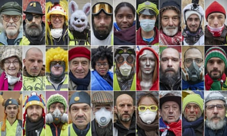 Gilets jaunes demonstrators photographed at marches across France in December and January.