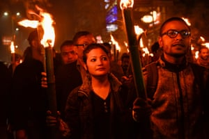 Assam, India Activists stage a protest