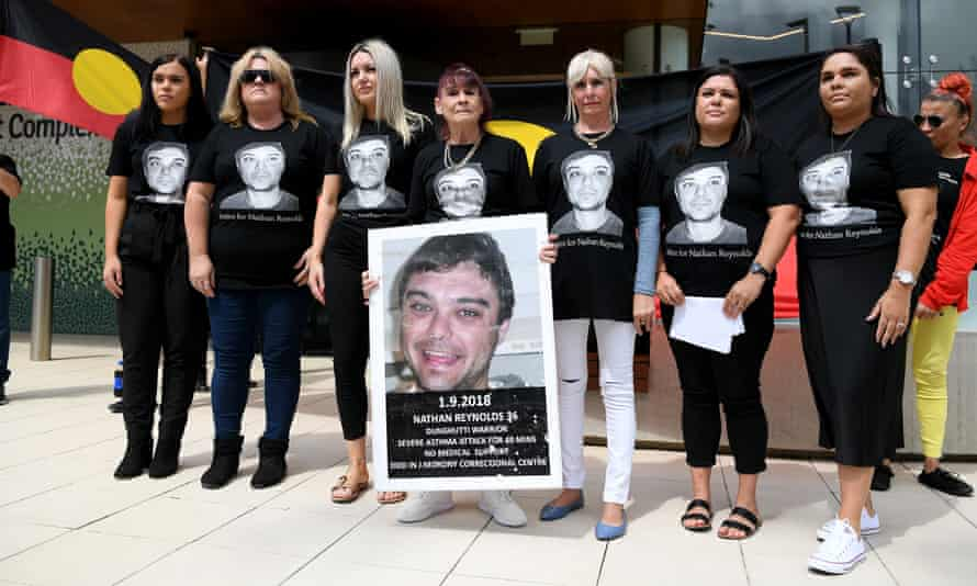 Nathan Reynolds' family after the inquest into the death in custody of the Aboriginal man