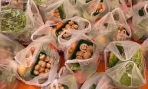 Bags of vegetables at a food bank