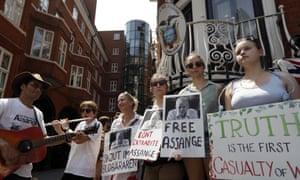 Supporters of Julian Assange outside the Ecuadorian embassy in London in 2017