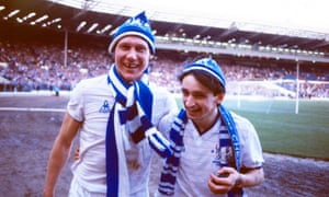 Pat Nevin and Doug Rougvie celebrate after Chelsea's 5-4 win against Manchester City at Wembley.