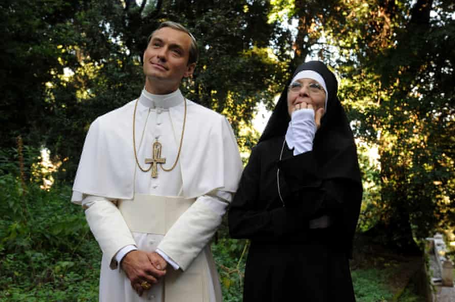Diane Keaton in a wimple! Jude Law and Keaton in The Young Pope.