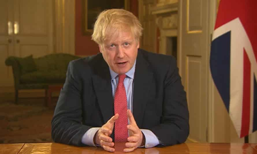 Boris Johnson addressing the nation from 10 Downing Street, London, as he placed the UK under the first national lockdown.