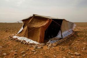 The tent of Abu Jakka Farhan, a truffle hunter, in the desert