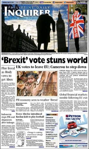 Philippine Daily Inquirer newspaper front page 25 June 2016 European Referendum David Cameron resignation