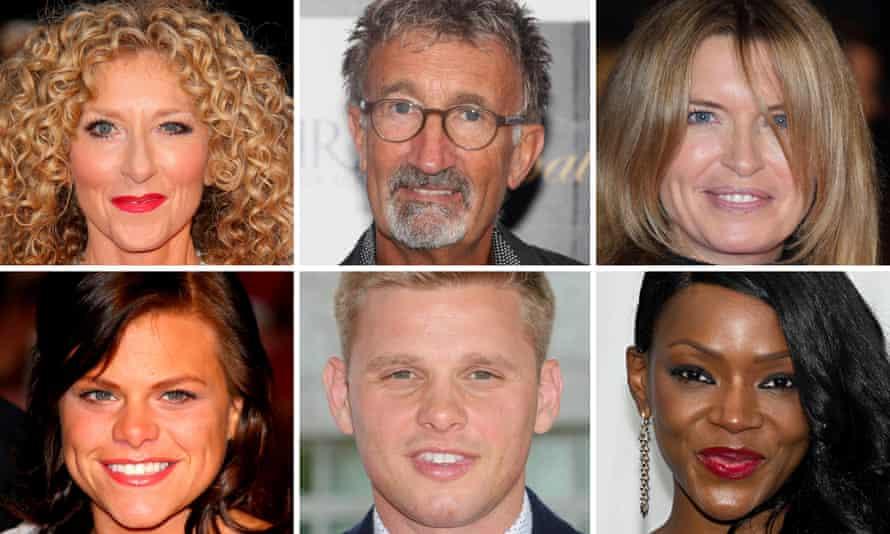 Clockwise from top left: Kelly Hoppen, Eddie Jordan, Tina Hobley, Caroline Chikezie, Jeff Brazier, and Jade Goody.