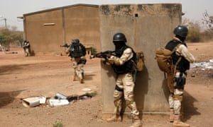 Members of the Burkina Faso armed forces participate in a training exercise in Ouagadougou, Burkina Faso