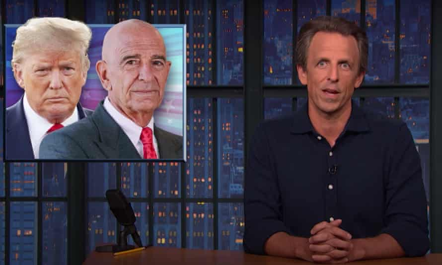 """Seth Meyers on arrest of former Trump inaugural committee chairman Tom Barrack: """"The Trump campaign and presidency was one big criminal enterprise, a toxic cesspool of corruption and self-enrichment, and clearly there's still so much more we need to find out."""""""
