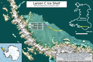 The separation could trigger a wider break-up of the Larsen C ice shelf.