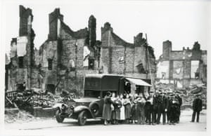 Mobile canteen after bombing raid, Sheffield, Yorkshire, 12 December 1940