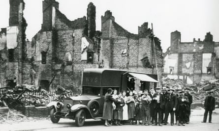 A WVS mobile canteen after a bombing raid on Sheffield, Yorkshire, in December 1940.