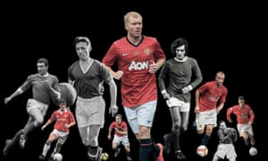 Left to right: Bill Foulkes, Mark Hughes, Roger Byrne, Gary Neville, Paul Scholes, George Best, Wes Brown, Jack Crompton and Ryan Giggs. Composite: Jim Powell