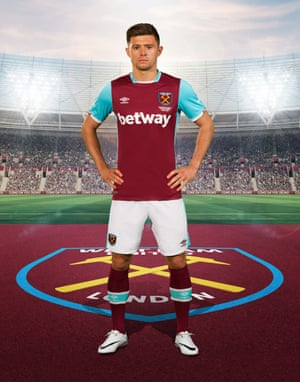 Aaron Cresswell, seen here in West Ham's 2016-17 home kit, is looking forward to playing in front of 60,000 at the Olympic Stadium.