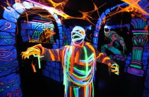 """Stirling, Scotland Scott Meiklejohn gets into character as a mummy during a photo call ahead of """"Hallowild"""", Blair Drummond Safari Park's annual Halloween event. This year's theme in the haunted walkway is an Egyptian tomb with special 3D effects alongside actors playing the roles of Pharaohs and Mummies"""
